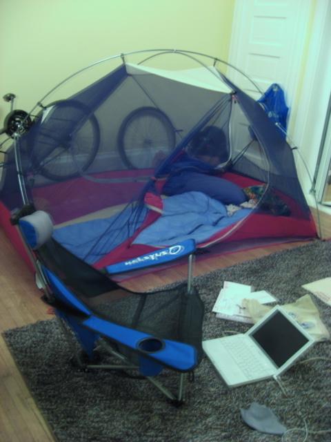 My tent in my house!